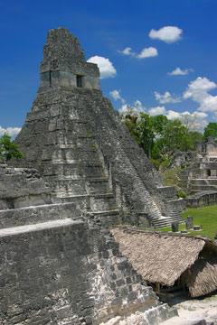 jaguar temple - mayan ruins at tikal, guatemala